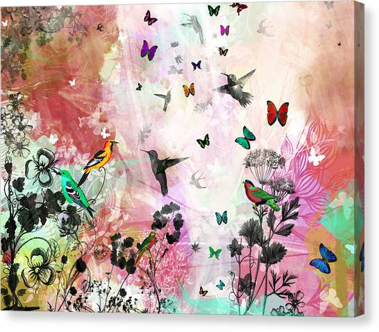 Enchanting Birds And Butterflies Canvas Print by Carly Ralph