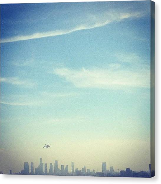 Space Shuttle Canvas Print - Endeavor Over Hollywood by Melissa Stefanini