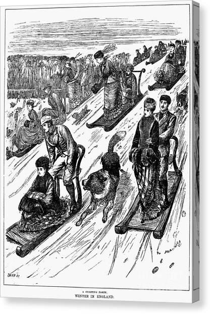 Sleds Canvas Print - England: Sledding, 1879 by Granger