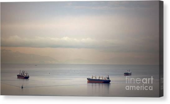 English Bay Cargo Freighters Canvas Print by Ei Katsumata