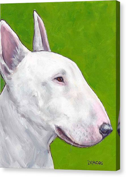 English Bull Dogs Canvas Print - English Bull Terrier Profile On Green by Dottie Dracos