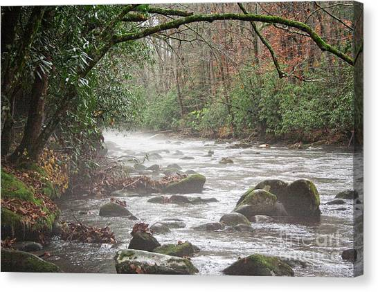 Enhanced Fog On The River Canvas Print