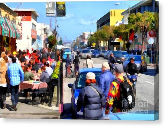Enjoying The Day At San Francisco Fishermans Wharf . 7d14485 Canvas Print by Wingsdomain Art and Photography