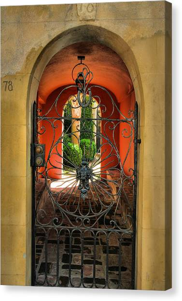 Entrance To Stucco Home Canvas Print by Steven Ainsworth