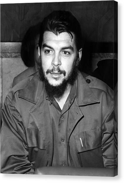 Ernesto Che Guevara Steps Off A Plane Canvas Print by Everett