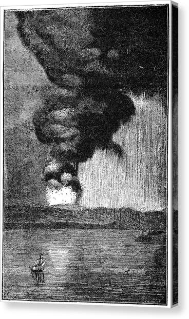 Krakatoa Canvas Print - Eruption Of Krakatoa, 1883 by