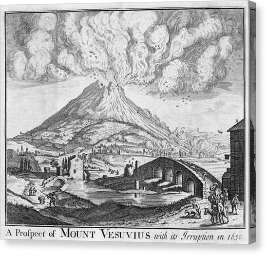 Mount Vesuvius Canvas Print - Eruption Of Vesuvius In 1630 by Middle Temple Library