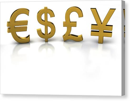 Yen Canvas Print - Euro, Dollar, Pound And Yen Currency Symbols by Bjorn Holland