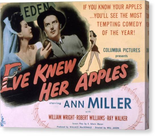 1945 Movies Canvas Print - Eve Knew Her Apples, Ann Miller by Everett