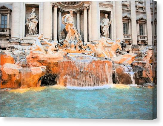 Evening At Trevi Fountain Canvas Print by
