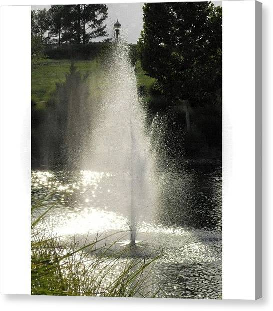 Ponds Canvas Print - Evening Fountain by Mari Posa