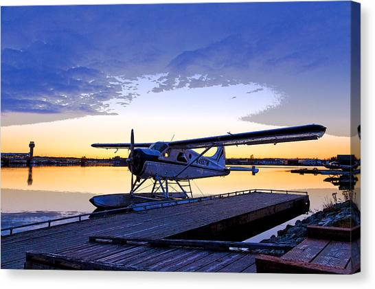 Air Traffic Control Canvas Print - Evening Light On A Dehavilland Beaver- Abstract by Tim Grams
