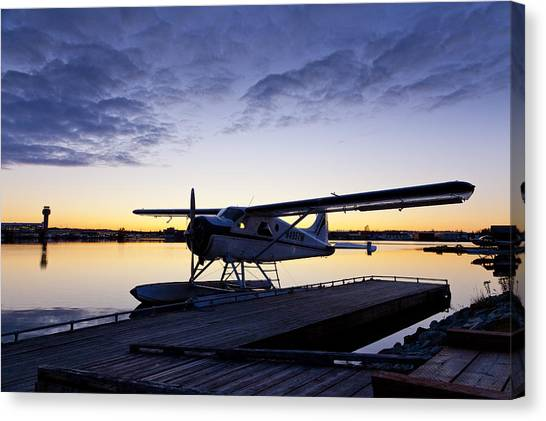 Air Traffic Control Canvas Print - Evening Light On A Dehavilland Beaver by Tim Grams