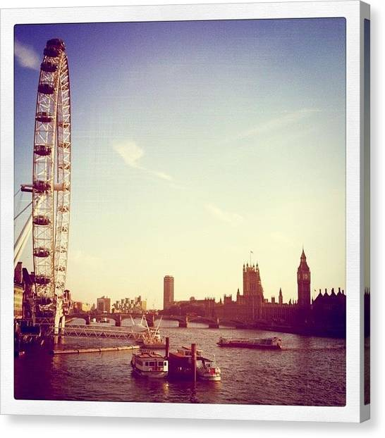 London Eye Canvas Print - Evening Sun Over London And The Houses Of Parliament by Matt Rhodes