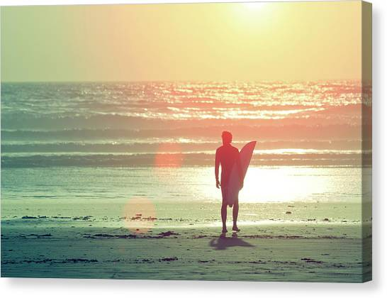 Surfing Canvas Print - Evening Surfer by Paul McGee
