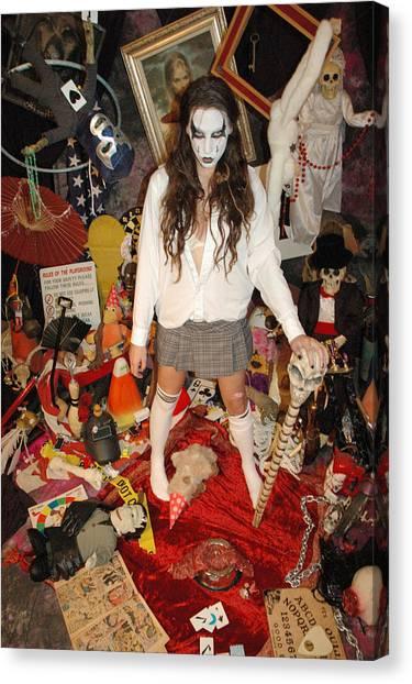 Sex Kitten Canvas Print - Evil Schoolgirl - Gone Amuck by Liezel Rubin