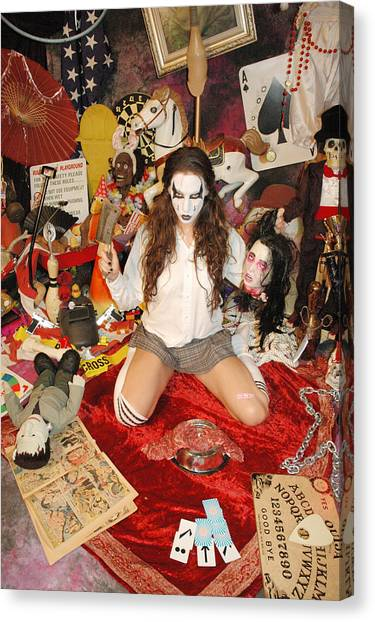 Sex Kitten Canvas Print - Evil Schoolgril - On Her Knees by Liezel Rubin