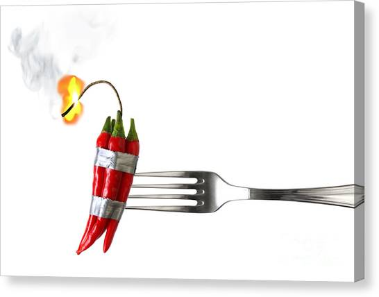Hot Sauce Canvas Print - Explosive Food by Carlos Caetano
