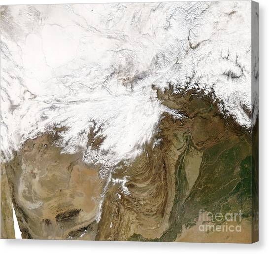 Hindu Kush Canvas Print - Extreme Cold In Afghanistan by Nasa