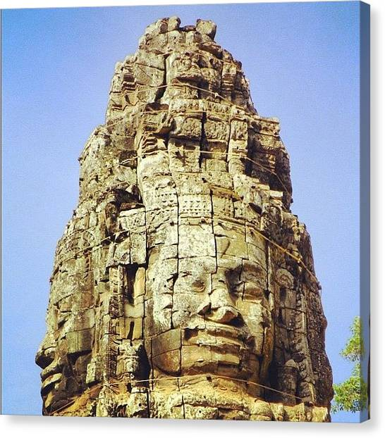 Temples Canvas Print - Face. #bayon #khmer #angkor #cambodia by Richard Randall