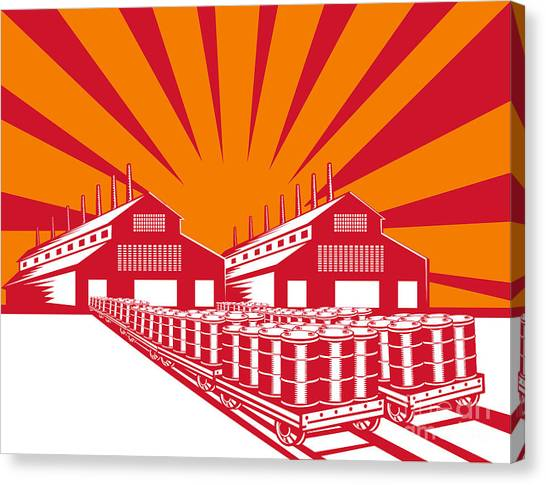 Factories Canvas Print - Factory Building Oil Drum Barrel Retro by Aloysius Patrimonio