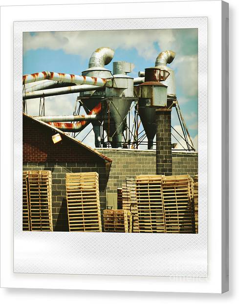 Vintage Polaroid Canvas Print - Factory by HD Connelly