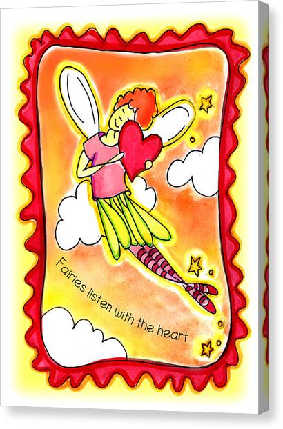 Fairies Litsten With The Heart  Canvas Print