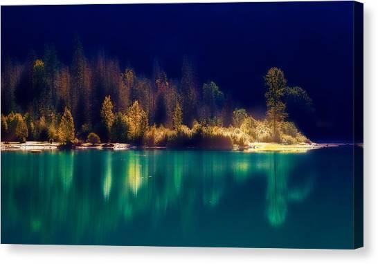 Fall Along The Lake Canvas Print