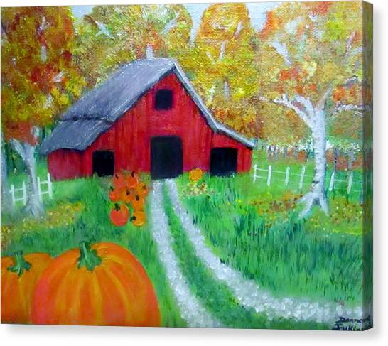 Fall And Pumpkin Harvest Canvas Print by Donna Jenkins