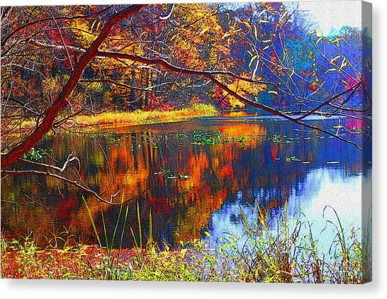 Fall At Surprise Lake Canvas Print by Michael Dantuono