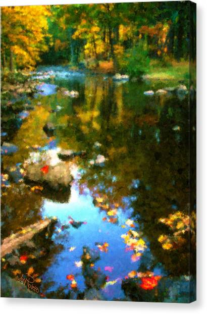 Fall Color At The River Canvas Print by Suni Roveto