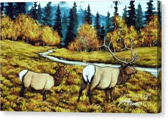 Fall Elk Canvas Print by Bobbylee Farrier