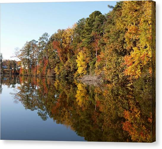 Fall Reflections Canvas Print by Larry Krussel