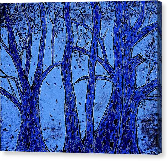 Falling Leaves Blue Canvas Print