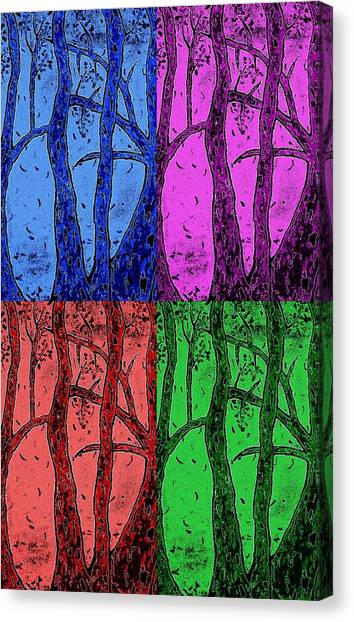 Falling Leaves In Four Colors Canvas Print