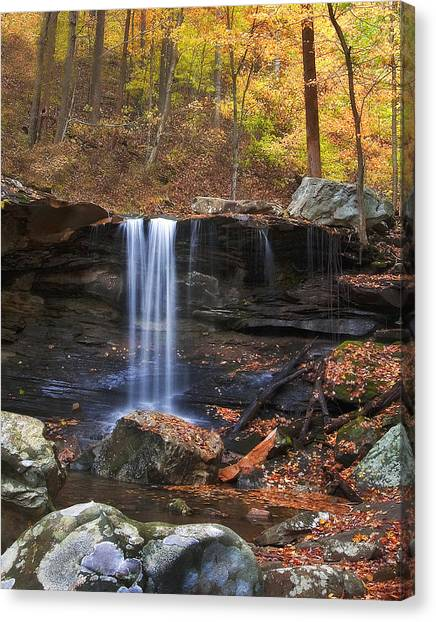 Falls At Frozen Head Canvas Print by Charles Fletcher