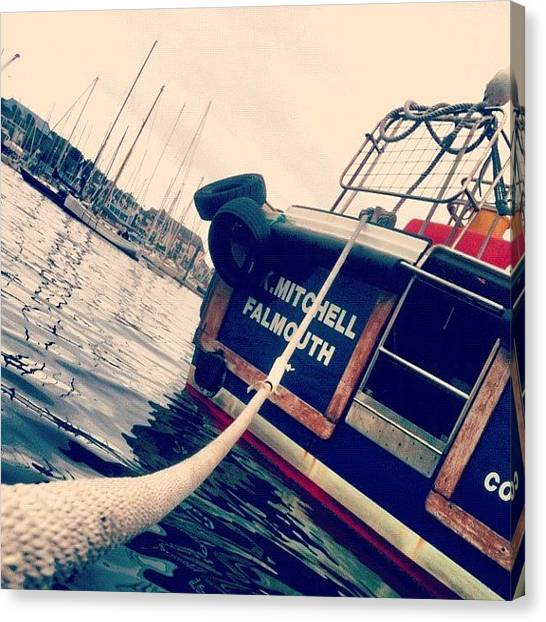 Surface Canvas Print - #falmouth #boat  #rope #water by Sophie  Jones