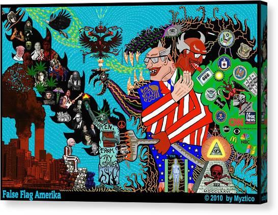 False Flag Amerika Canvas Print by Myztico Campo