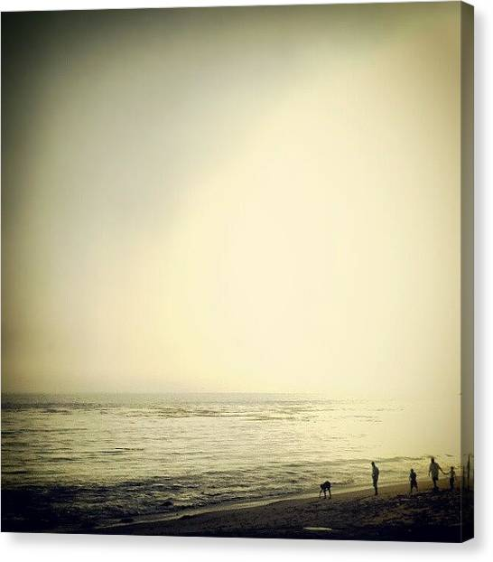 Beach Sunsets Canvas Print - #family #beach #walking On #sand by J Lopez