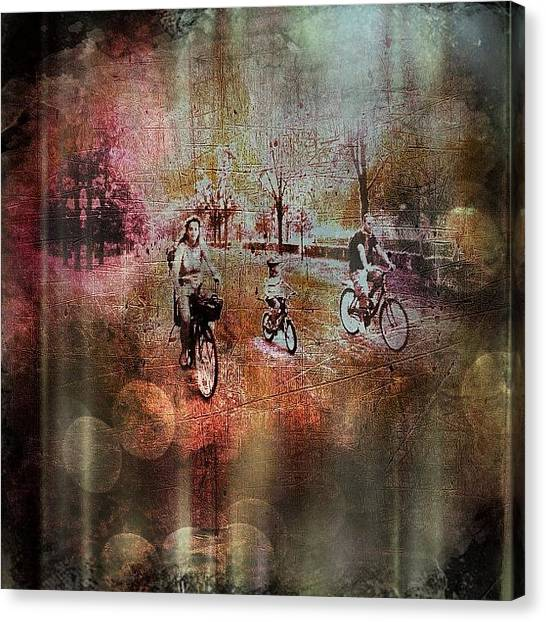 Biker Canvas Print - Family Biking #iphone #instagram by Roberto Pagani