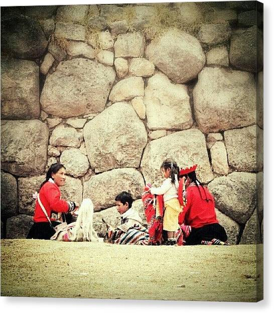 Peruvian Canvas Print - #family Gathering Near #saksaywaman by Yannick Menard