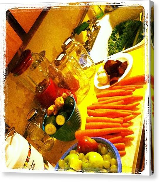 Meat Canvas Print - Family Juicing With The Sisters by Tara Ham