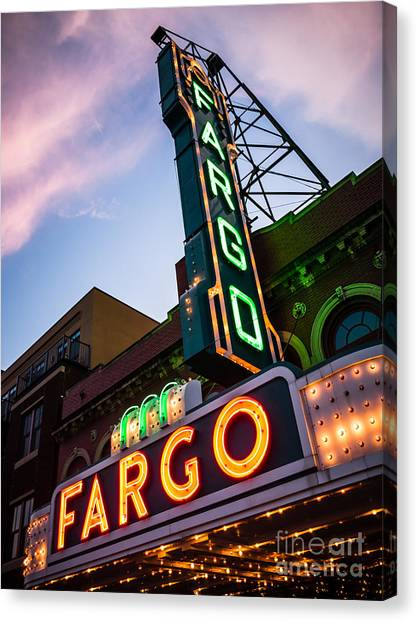 North Dakota Canvas Print - Fargo Theater And Marquee Sign At Night Photo by Paul Velgos