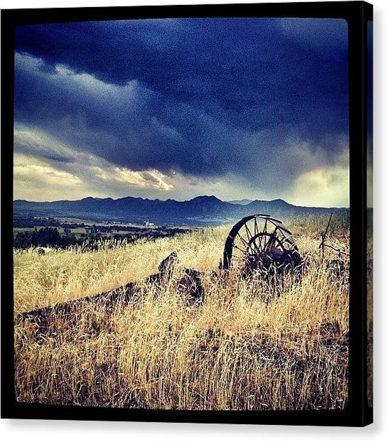 Equipment Canvas Print - Farm Equipment In Storm by Jonathan Joslyn