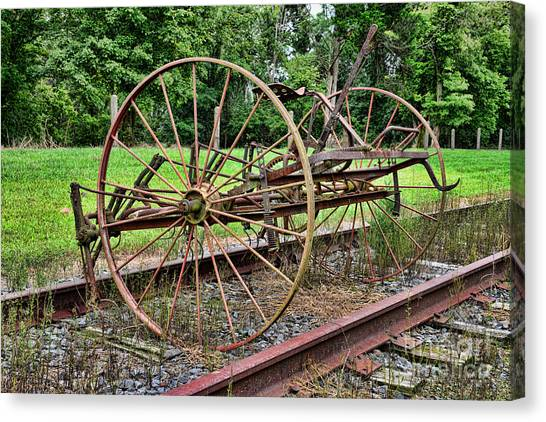 Caterpillers Canvas Print - Farm - Horse-drawn Combine by Paul Ward