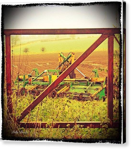 Equipment Canvas Print - Farm Machinery Through The Gate #farm by Polly Rhodes