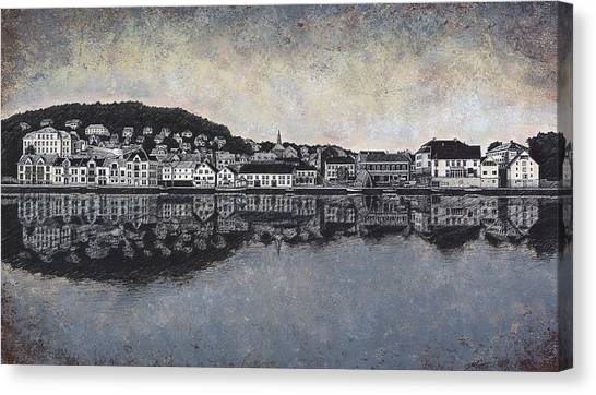 Farsund Canvas Print - Farsund Waterfront by Janet King