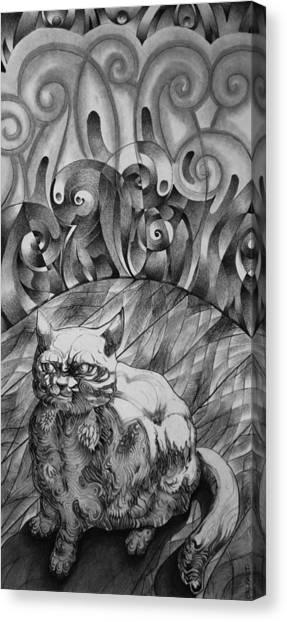Fat Cat Fur Ball Canvas Print