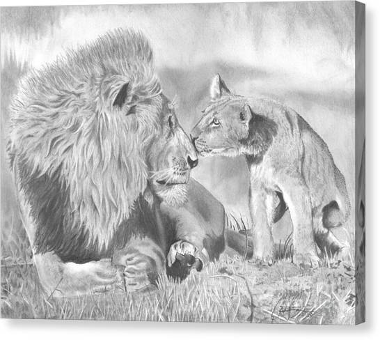 Father And Cub Canvas Print