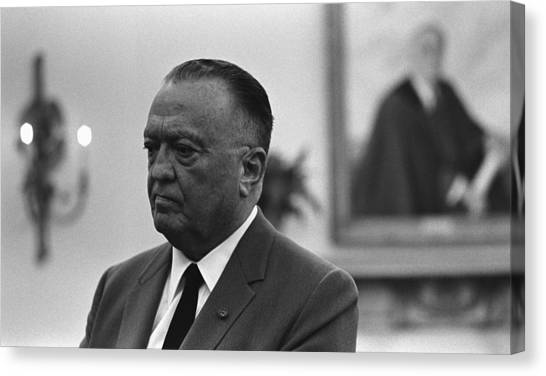 Lyndon Johnson Canvas Print - Fbi Director, J. Edgar Hoover, In An by Everett